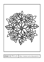 ポインセチアとバラ主線黒冬クリスマスの花無料塗り絵イラスト