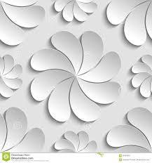 Naadloze Patroon Witte 3d Document Bloem Cirkel 3d Behang Stock