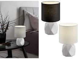 Beton Led Tischleuchten Stoffschirm Rund Nachttischlampen