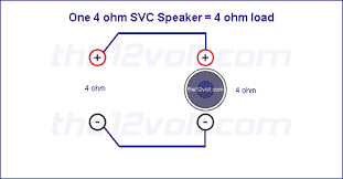 subwoofer wiring diagrams one ohm single voice coil svc speaker one 4 ohm svc speaker 4 ohm load