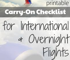 International Travel Packing Checklist Carryon Packing Checklist For International Travel Bonjour