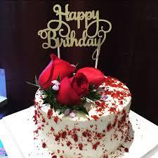 Gold Glitter Happy Birthday Cake Topper Calligraphy Topper