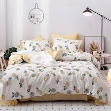 spring and summer 100 cotton pineapple duvet cover set twin queen king size bedding sets yellow bed sheet pillow case for bedding sets x13q31163356