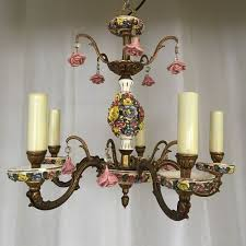 capodimonte style italian porcelain and gilded romantic chandelier with lots of roses italya mid