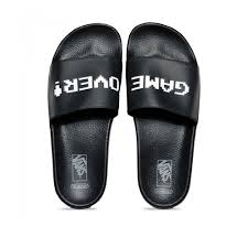 vans x nintendo. nintendo slide-on sandals - black vans x h