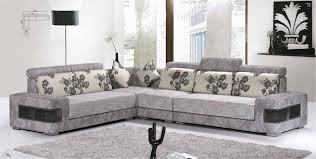 Furniture. Grey Uphplstared L Shape Sofa With Curved Arm And Back within L  Shaped Fabric