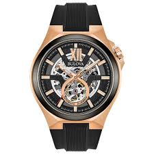 bulova automatic 98a177 black and rose gold skeleton black bulova automatic 98a177 black and rose gold skeleton black silicone analog automatic men s watch