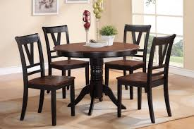 Cherry Wood Kitchen Table Sets Poundex 5 Piece Round Dining Table Set In Cherry Black F2385 S5