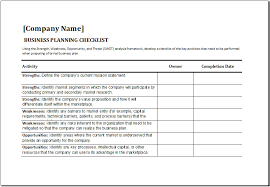 Microsoft Word Template Checklist Microsoft Checklist Template Ms Excel Business Planning Checklist
