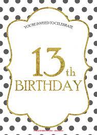 Free 13th Birthday Invitations Free 13th Birthday Invitations Templates 13th Birthday
