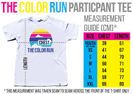 Unisex Shirt Size Chart Color Run How Do I Work Out My T Shirt Size The Color Run