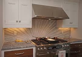 This custom kitchen features a handmade Tatami Radiance mosaic backsplash  shown in polished Bardiglio, Horizon