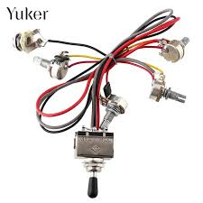 yuker wiring harness 2v 2t 3 way toggle switch 500k pots for guitar Wiring Harness Replacement Grade Al at Dual Wiring Harness Replacement