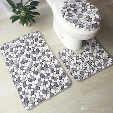2019 modern printed toilet mat set anti slip bath mat set bathroom rug set shower room rugs toilet cover mat bathroom door floor rug from cindy668