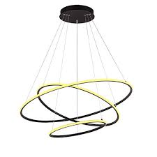 royal pearl modern dimmable circular led chandelier adjule hanging light three ring collection contemporary ceiling pendant