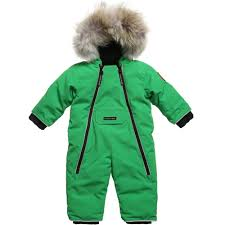 Canada Goose - Green  Lamb  Down Padded Baby Snowsuit   Childrensalon