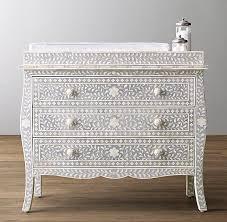 set dresser gray and white mosaic bone inlay three drawer topper set dresser