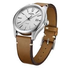 mens steel rotary watch on a tan leather strap