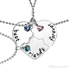 whole best friends forever pendant necklaces heart shaped rhinestone lucky beads friendship f creative girls keepsake 981 costume jewelry lockets from