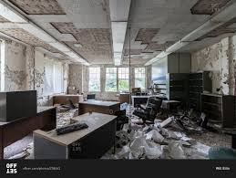 building office furniture. Abandoned Office Furniture Left Behind In An Insane Asylum Stock Photo - OFFSET Building
