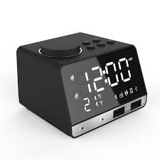 led display dual alarm clock dual units wireless bluetooth speaker fm radio usb port bass speaker cod