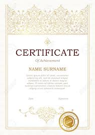 Certificate Outline Vector Outline Frame In Eastern Style Certificate Template With