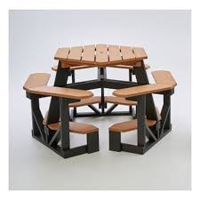 heavy duty hexagonal recycled plastic bar height picnic table with umbrella hole seats 6