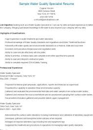 Sample Management Specialist Resume Sample Water Quality Specialist Resume In 2019 Resume