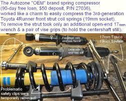coil spring compressor autozone. took hours (simply because i had trouble understanding the fsm-unexplained step of \ coil spring compressor autozone o
