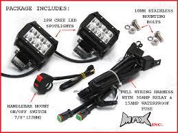 universal motorcycle 18 watt cree led spot driving lights universal motorcycle 18 watt cree led spot driving lights complete wiring kit