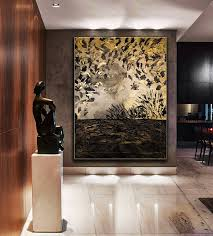 black gold abstract painting large