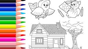 Learn Colors For Kids House Coloring Page Rabbit Coloring Book Bird