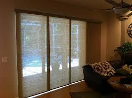 inspiring window treatment for sliding glass door using roman blinds