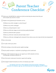 Printable Checklist For Parent-Teacher Conferences | Signup.com