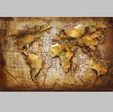 3d metal wall art 3d world map painting 1