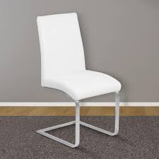 Contemporary white dining chairs White Leather White Faux Leather And Brushed Stainless Steel Finish Contemporary Dining Home Depot Armen Living Blanca 39 In White Faux Leather And Brushed Stainless