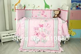 New Embroidered 3D Pink Butterfly Lace Baby Crib Cot Bedding Set 3pcs Quilt  Bumper Fitted Sheet for girl Free Shipping