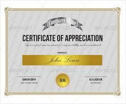 Free Appreciation Certificates Sample Certificate Of Appreciation Templates 35 Download
