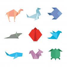 Cute Japanese Origami Paper Art Animal Illustration Set Vector
