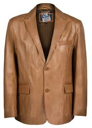 mens 2 on tan leather blazer single vent front