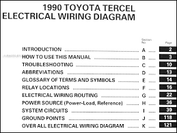 1990 toyota tercel wiring diagram manual original covers all 1990 toyota tercel models including base liftback ez coupe deluxe this book measures 11 x 8 5 and is 0 31 thick