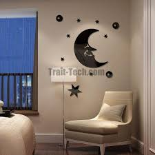 lm030 acrylic starry and moon mirror wall stickers living room bedroom wall art home decor decals background mural