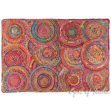 colorful rugs. Colorful Pop Boho Woven Jute Chindi Braided Area Decorative Rag Rug - 4 X 6 Ft Rugs T