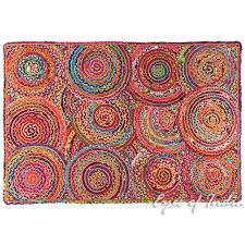colorful pop boho woven jute chindi braided area decorative rag rug 4 x 6 ft