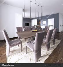 Luxuriöse Moderne Esszimmer Verfügt über Einen Hölzernen