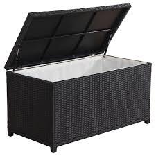 Broyerk outdoor black wicker cushion storage box black patio furniture aluminum