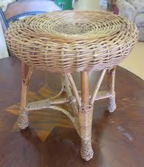 Mid Century Plant Stand Vintage Mid Century Wicker Round Milking Foot Stool Plant Stand