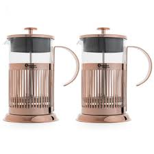 bredemeijer stainless steel and glass copper french press 3 4 cup set of 2