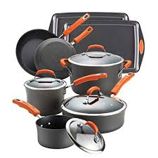 rachael ray hard anodized 12 piece.  Anodized Rachael Ray Hard Anodized II Nonstick 12Piece Set Orange Handles Throughout 12 Piece Y