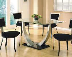 Furniture  Modern Minimalist Dining Set With Black Chairs And - Glass dining room furniture sets
